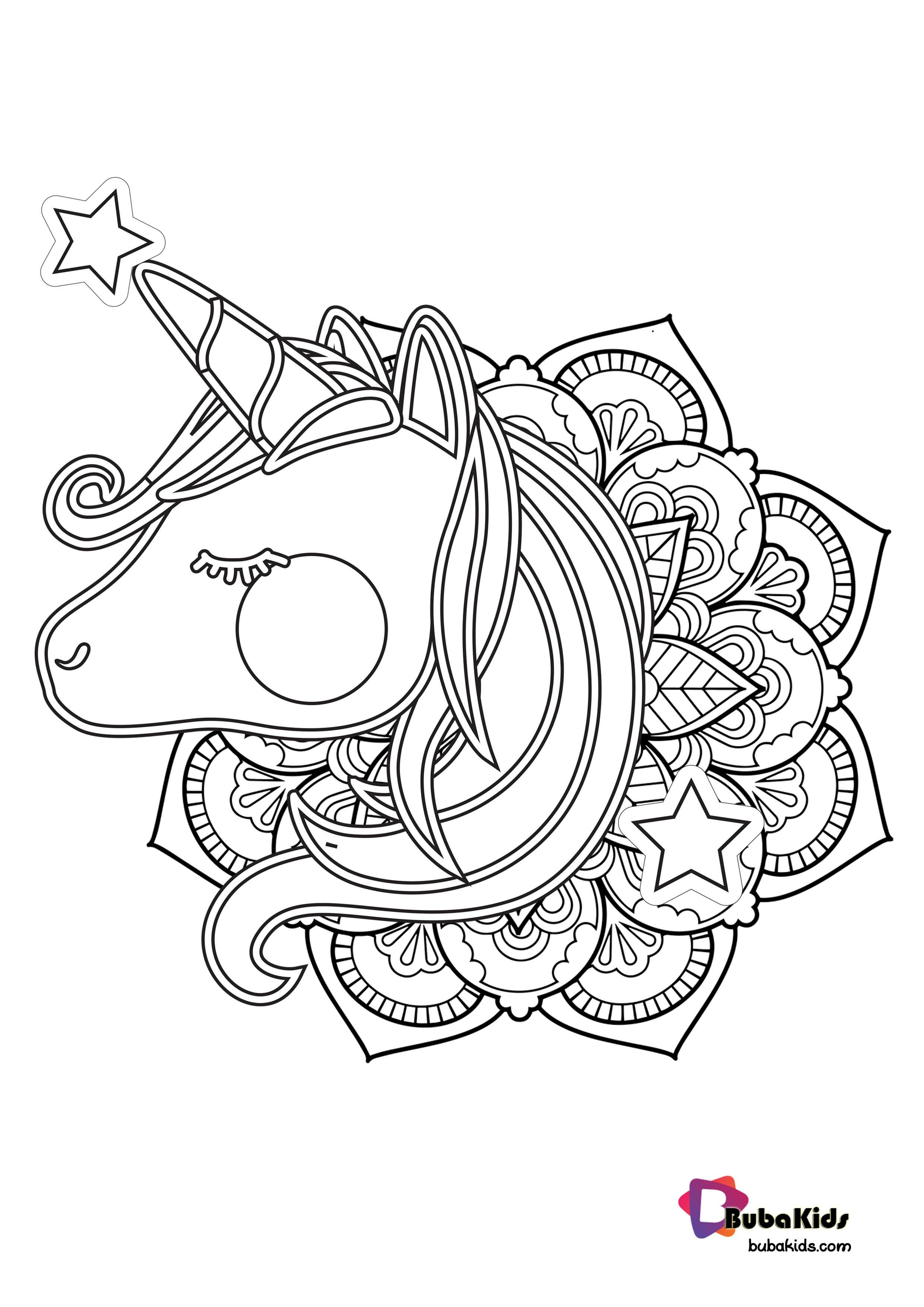 Hello Kids Let S Coloring Cute Unicorn Mandala Only In Bubakids Creative Kids Colorin Mandala Coloring Pages Cartoon Coloring Pages Stitch Coloring Pages