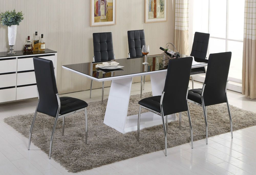 Murano Black White High Gloss Glass Dining Table Set And 6 Leather Chairs Seater Black Dining Room Black Dining Room Sets Dining Room Table Decor