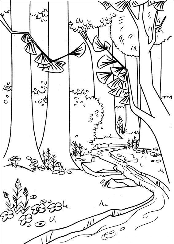 Download A River In The Forest Coloring Page Forest Coloring Pages Animal Coloring Pages Turtle Coloring Pages