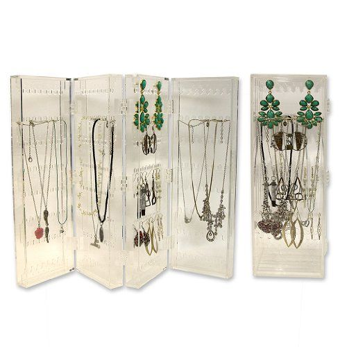 Earring Necklace Holder Acrylic Folding Jewelry Screen Holds