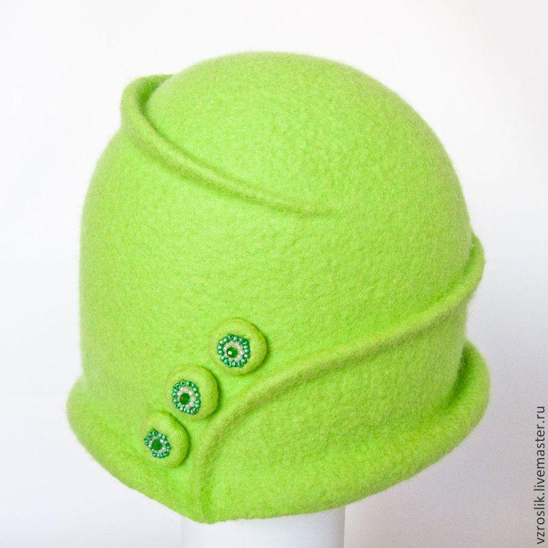 """Купить Шляпка """"Весенняя наивность"""" - салатовый, однотонный, шляпка женская, купить шляпку, авторская шляпка"""