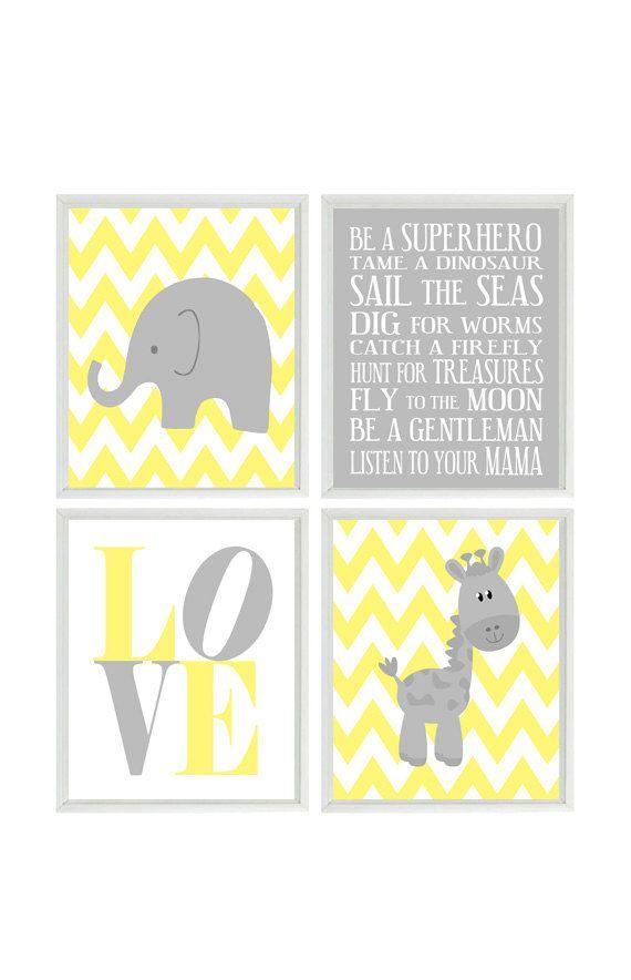 Nursery Art Elephant Giraffe Chevron Nursery Prints Gray Yellow ...