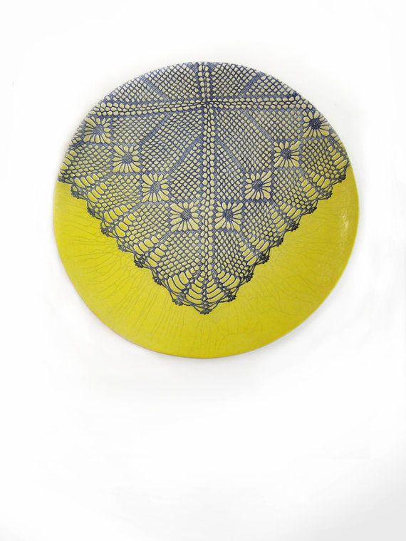 Yellow ceramic plate, wall sculpture, modern art, wall decor, art ...