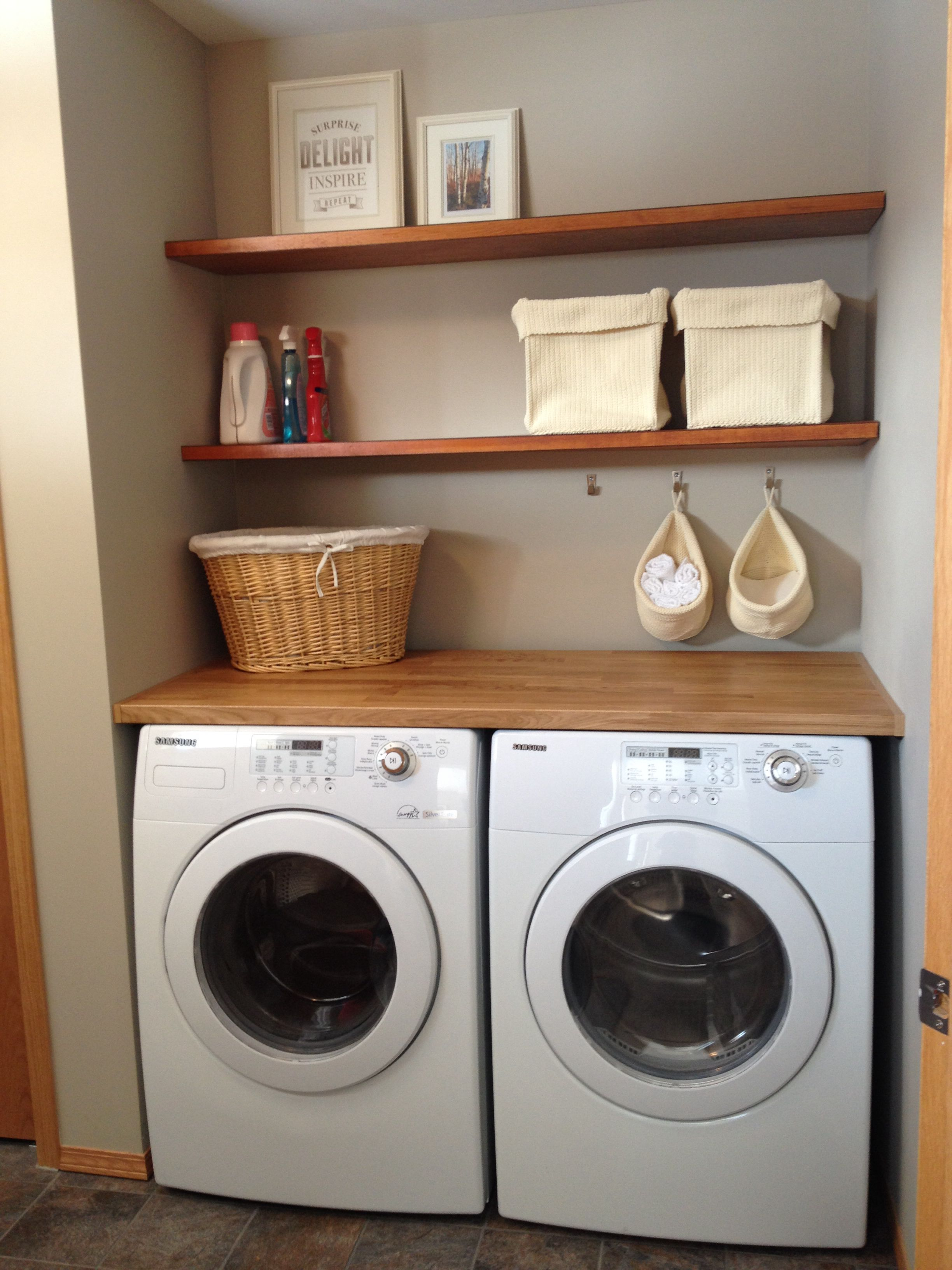 Laundry Room Floating Shelves Made From Oak Doors Stained