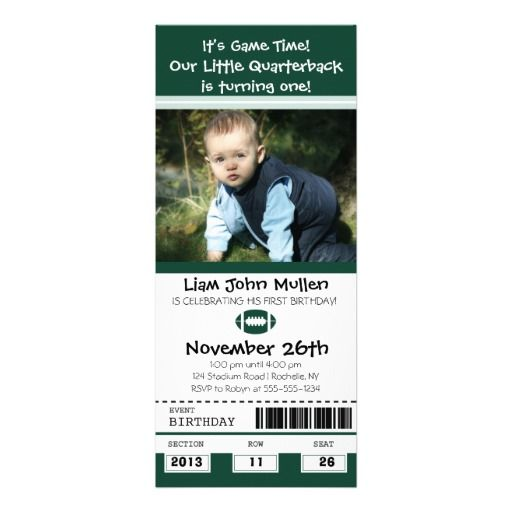 Football Birthday Ticket Personalized Announcements