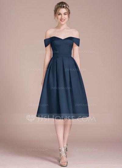 A-Line Princess Off-the-Shoulder Knee-Length Satin Bridesmaid Dress  (007104710) ca93b91a33