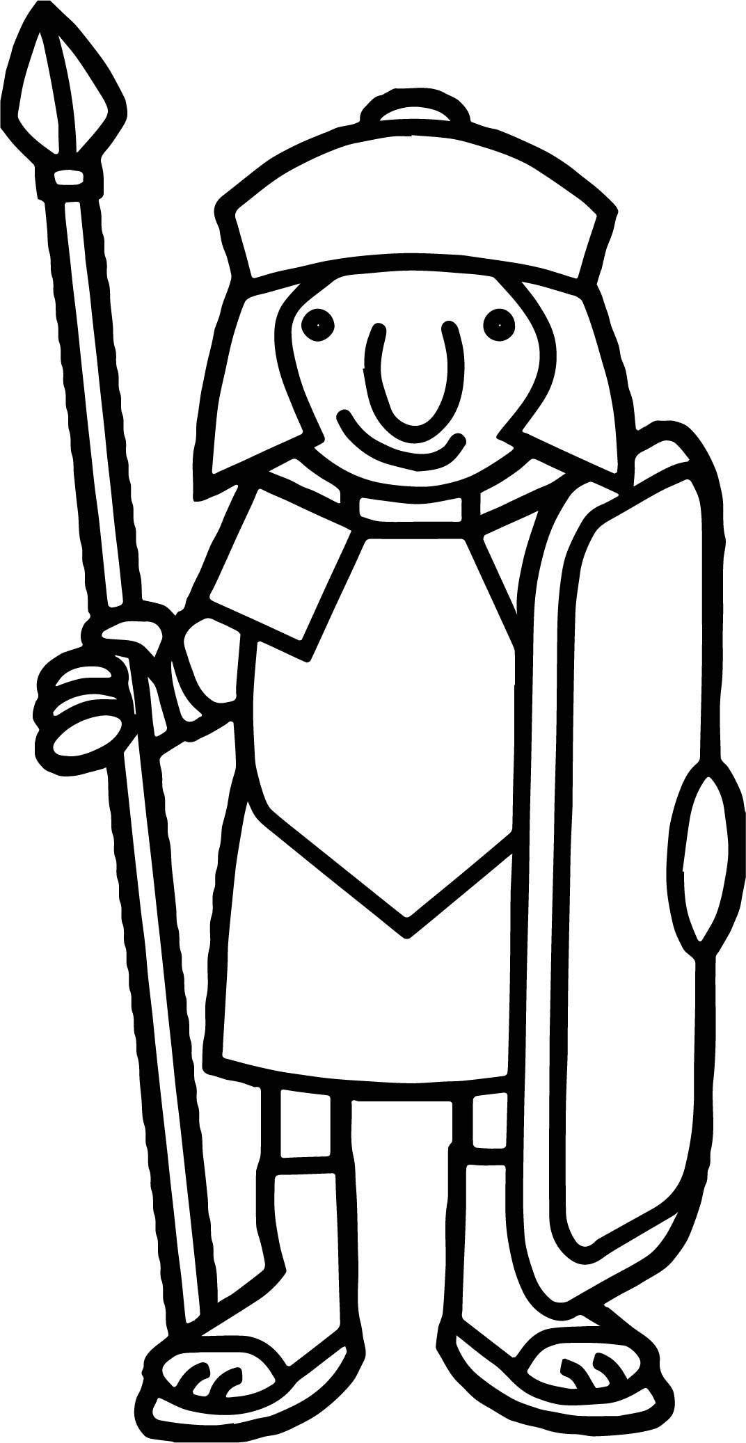 Cool Basic Roman Soldier Coloring Page