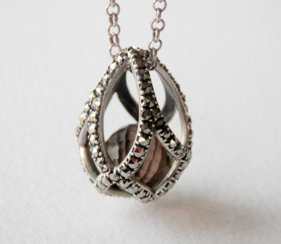 SPARKLE Silver Filigree Marcasite Crystals PURSE BAG Pendant Necklace