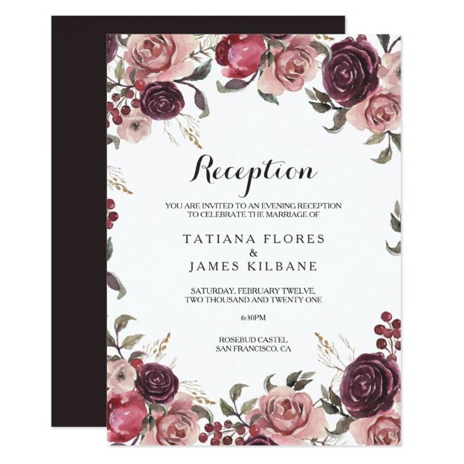 Elegante Bourgondische zomer bruiloft receptie kaart bruiloft, # ontvangst, # kaart, # som …