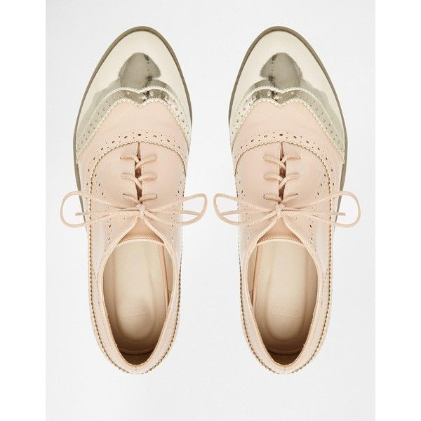 ASOS MAYHEM Brogues ($41) ❤ liked on Polyvore featuring shoes, oxfords, laced shoes, patent leather shoes, asos shoes, asos and lace up shoes