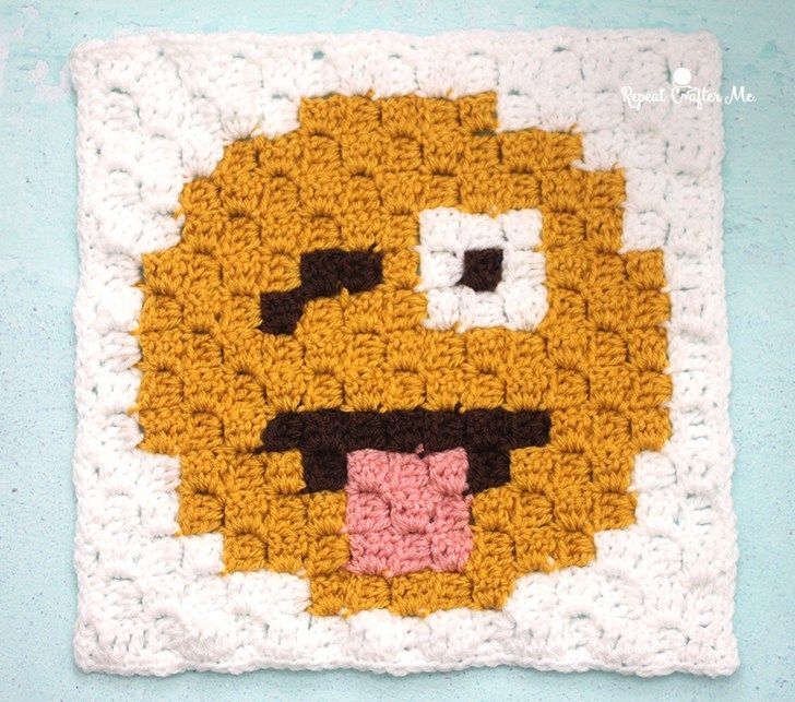 Crazy Face Emoji C2C square and pixel graph | c2c Häkeln, Häkeln und ...