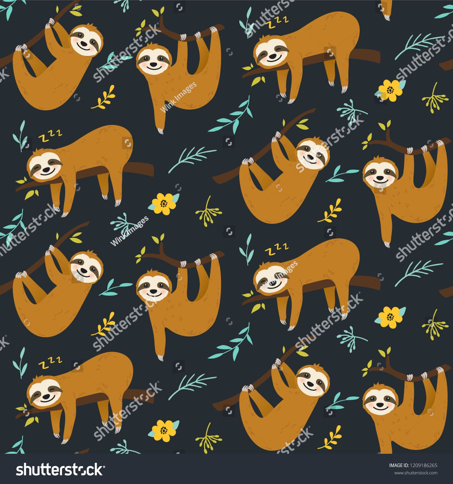 Cute cartoon sloth seamless pattern vector graphic design