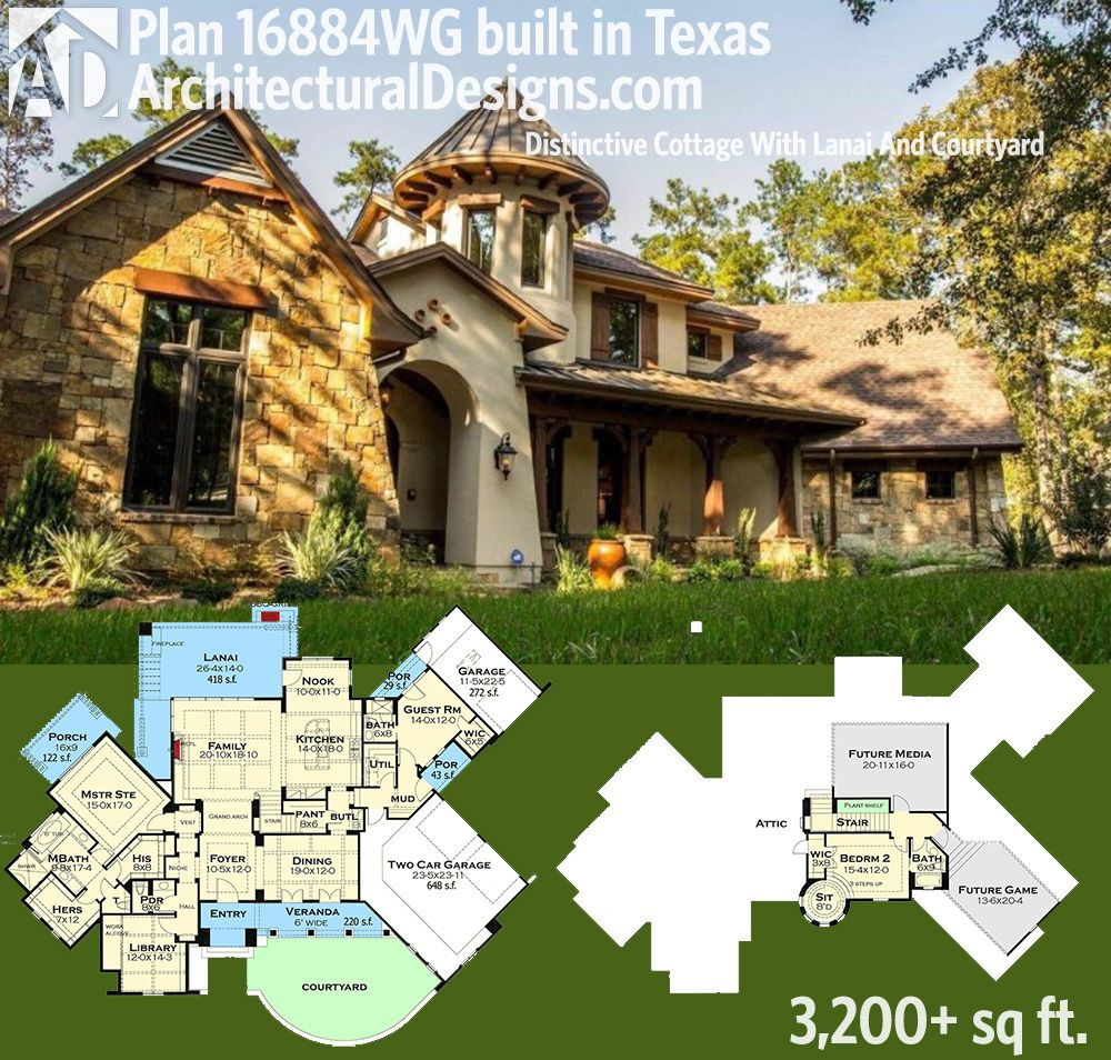 Texas House Plans Over 700: Plan 16884WG: Distinctive Cottage With Lanai And Courtyard