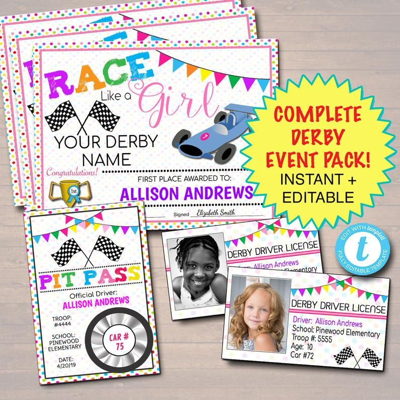 Editable Powder Puff Derby Pack Instant Download Troop Activity