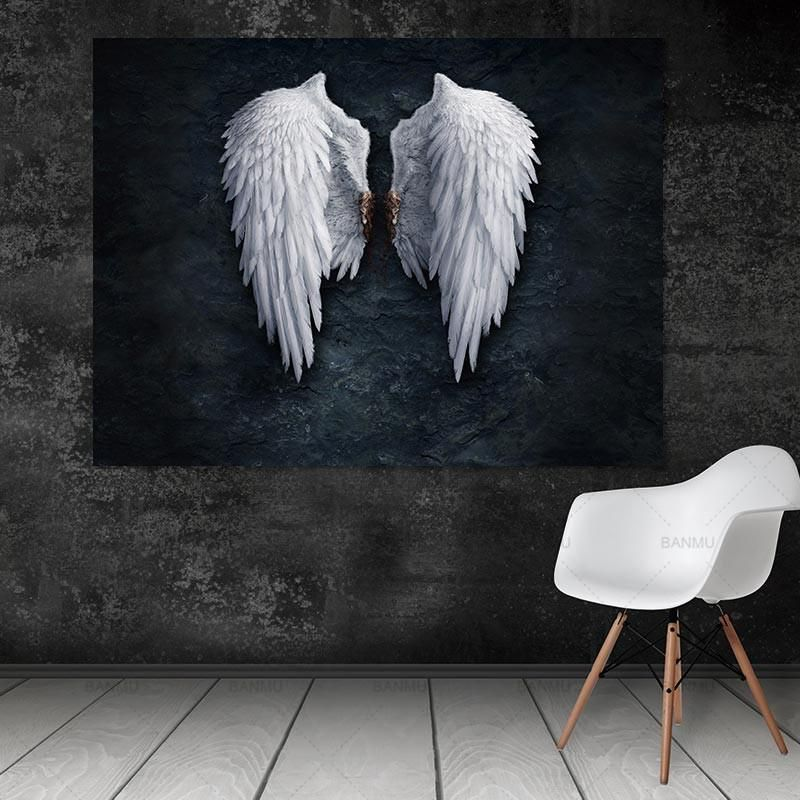 Angel wings canvas art piece black and white for just 14
