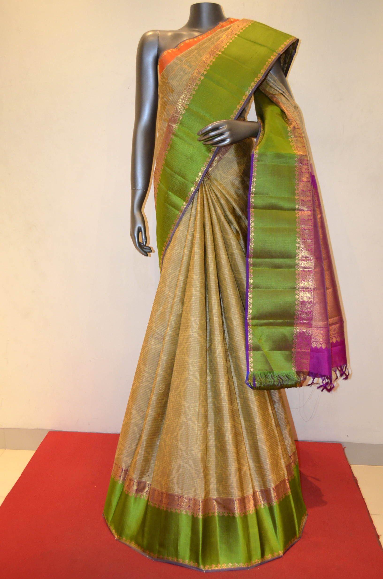 Pure silk saree kanjeevaram silk saree with contrast zari product code ab