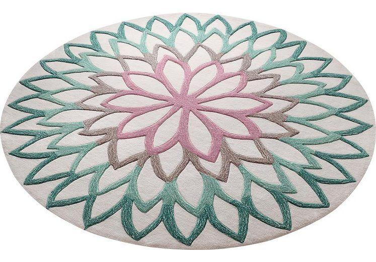 teppich lotus flower esprit rund h he 12 mm handgearbeiteter konturenschnitt online kaufen. Black Bedroom Furniture Sets. Home Design Ideas