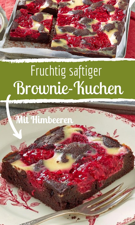 Himmlischer Brownie-Kuchen mit Himbeeren #appetizersforparty