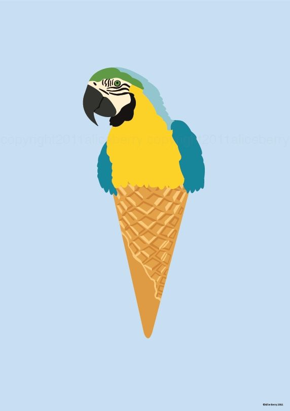 it's a parrot......... in an icecream cone!!!! i love it!