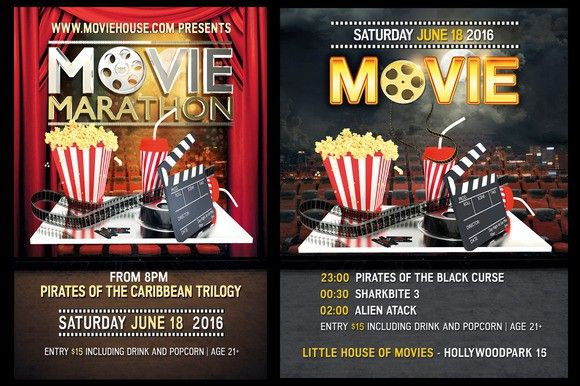 Movie Night Flyer Bundle Flyer Templates   Flyer Templates