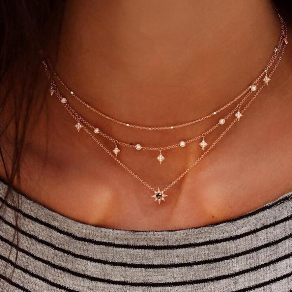 Women Choker Charm Necklace Chocker Star Gold//Silver Chain Simple Jewelry