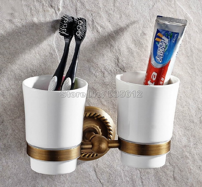 41.99$  Buy now - http://alinyh.worldwells.pw/go.php?t=32631823001 - Bathroom Accessory Wall Mounted Toothbrush Holder with Two Ceramic Cups Wba275 41.99$
