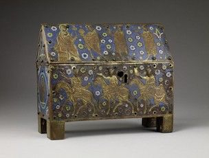 13th Century. Chasse; copper gilt; champlevé enamelled; front: Adoration of the Magi in two scenes; reverse: six medallions each containing half-length figure of nimbed saint; at each end: medallion containing half-length figure of angel; above: decorative motif.