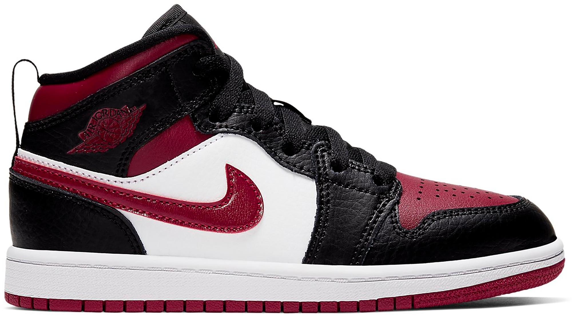 Pre Owned Jordan 1 Mid Bred Toe Ps In Black Noble Red White Modesens In 2020 Jordan 1 Mid Jordan 1 Jordans