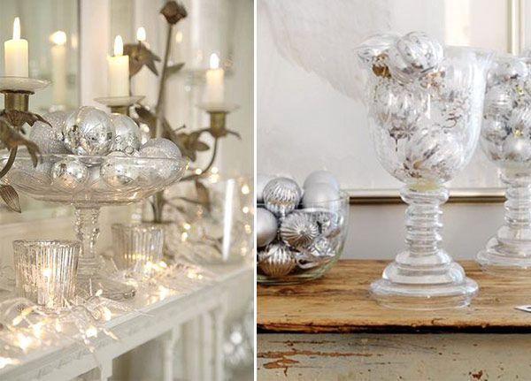Já que ontem fizemos uma seleção de enfeites em branco e prata, hoje resolvemos colocar algumas inspirações para decorar a casa para o Natal nessas cores: