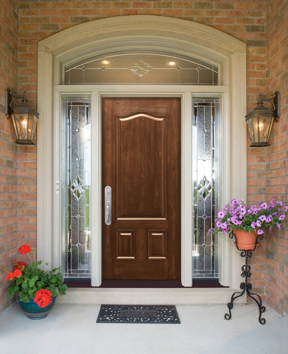 Single french door interior beveled glass transom window for single wood entry door with