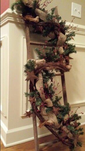 4 ft primitive ladder with pine garland burlap ribbon for Decorating with burlap ribbon for christmas