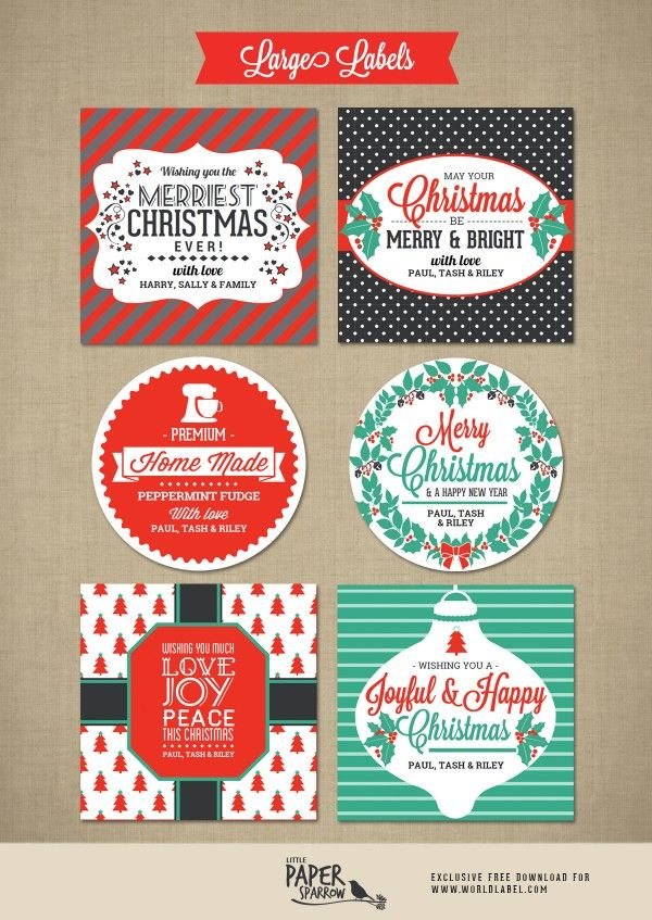 Merry Christmas Labels By Little Paper Sparrow Worldlabel Blog Christmas Labels Gift Labels Christmas Holiday Labels