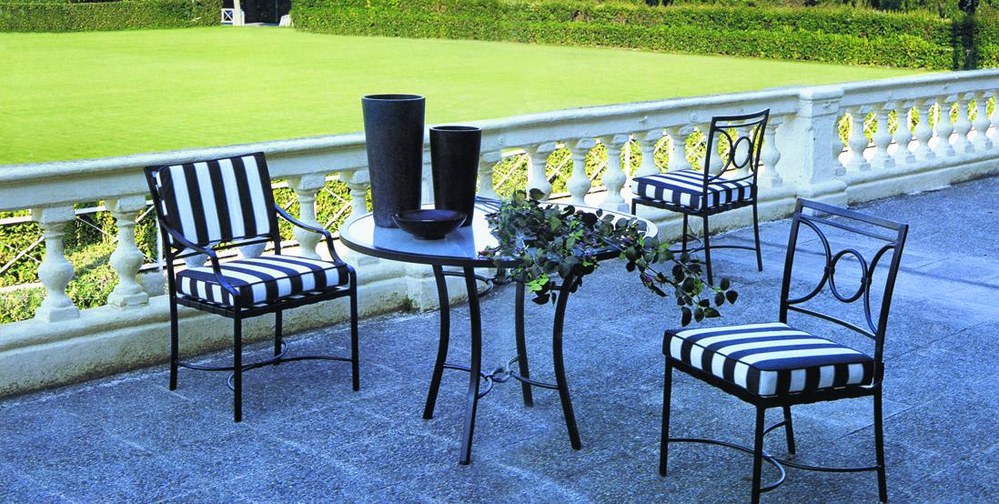 Muebles para jard n modelo seneca mesa de comedor en for Muebles de jardin de hierro forjado