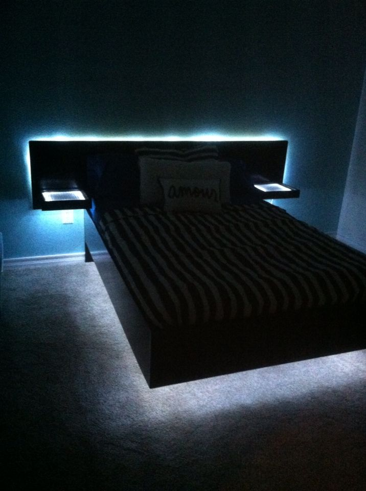 Used Led Rope Lights To Complete Our Daughters Homemade Floating Platform Bed With Images Floating Platform Bed Bed With Led Lights Rope Lights Bedroom