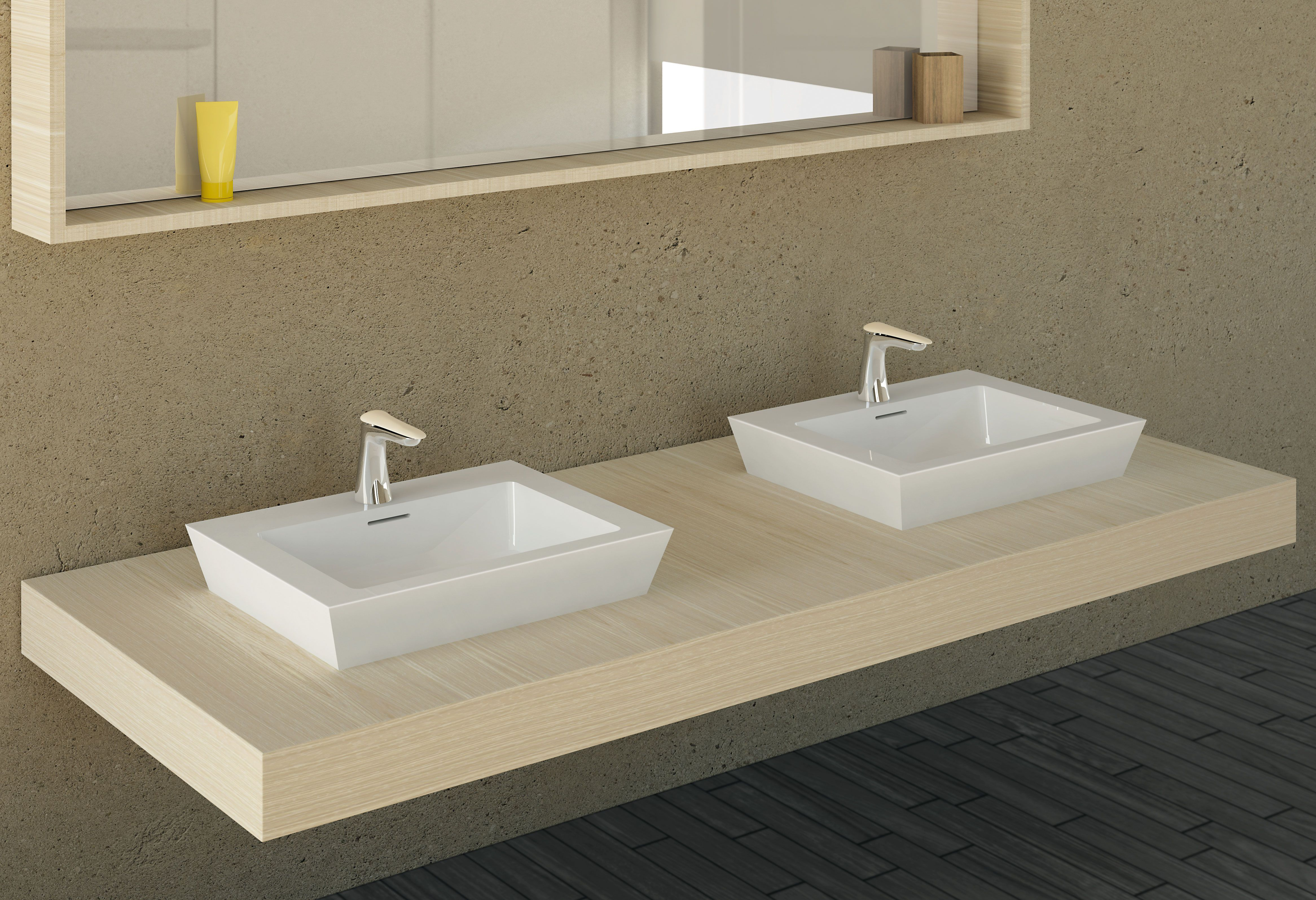 Bagno Caldo Deck Mounted Wash Basin Mixer Chrome Vanilla Corian Synergy