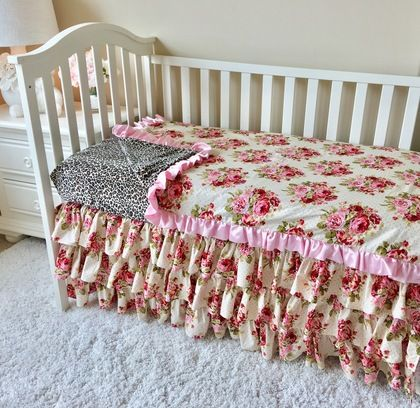 Leopard And Rambling Roses Baby Blanket Toddler Bed Set Baby Bed Toddler Bed