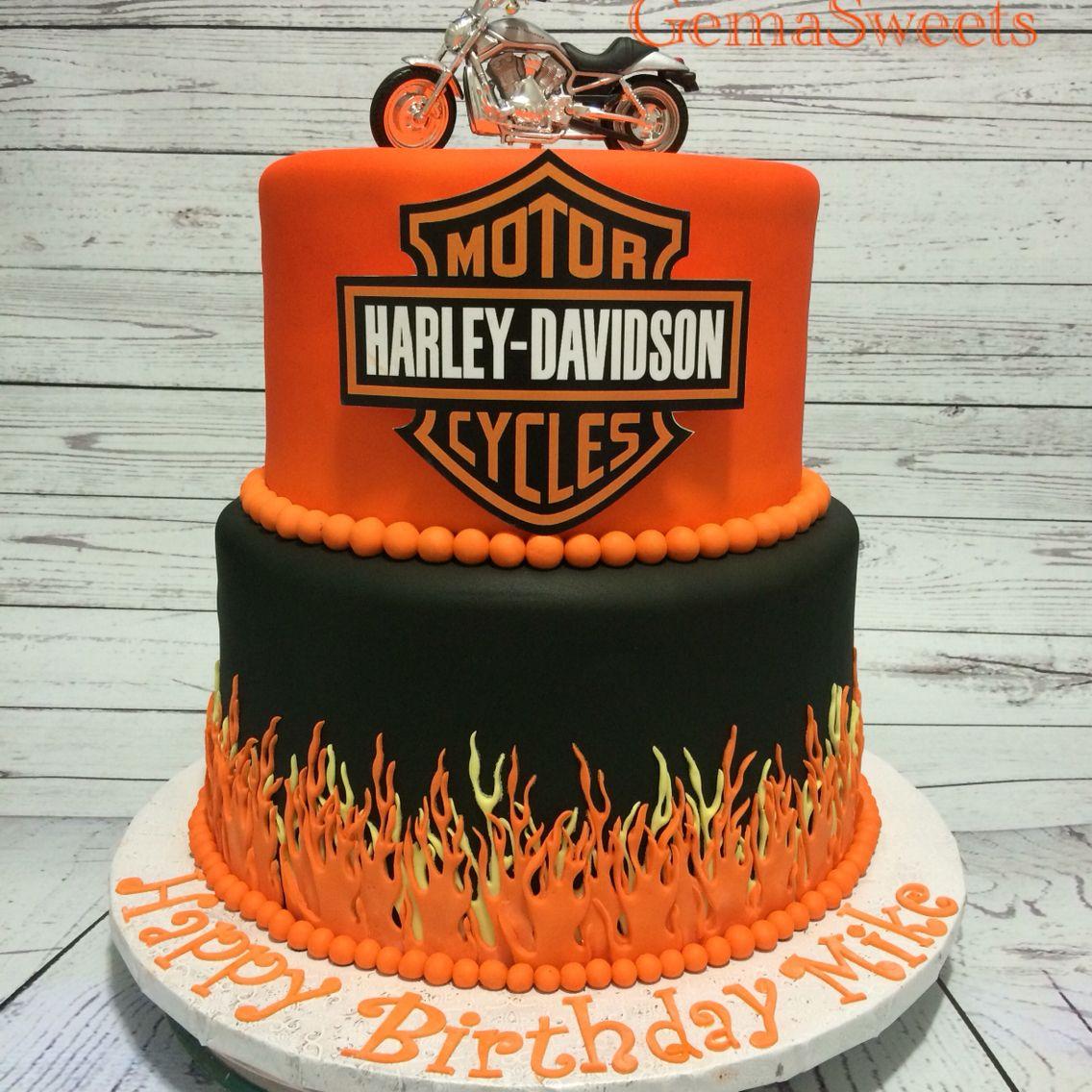 Harley Davidson Inspired Cake By Gema Sweets Harley Davidson Birthday Motorcycle Birthday Cakes Motorcycle Cake