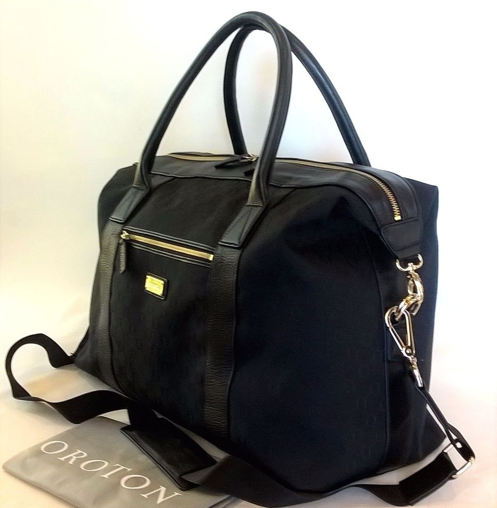 4529da541a13 New OROTON Signature O Overnighter Overnight Travel Bag Handbag Black  Leather