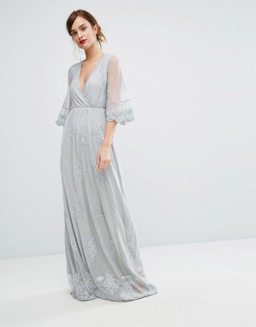 Asos Maxi Sukienka Koronkowa Pastelowa Koronka 38 6927353199 Oficjalne Archiwum Allegro Gray Lace Dress Grey Maxi Dress Lace Party Dresses