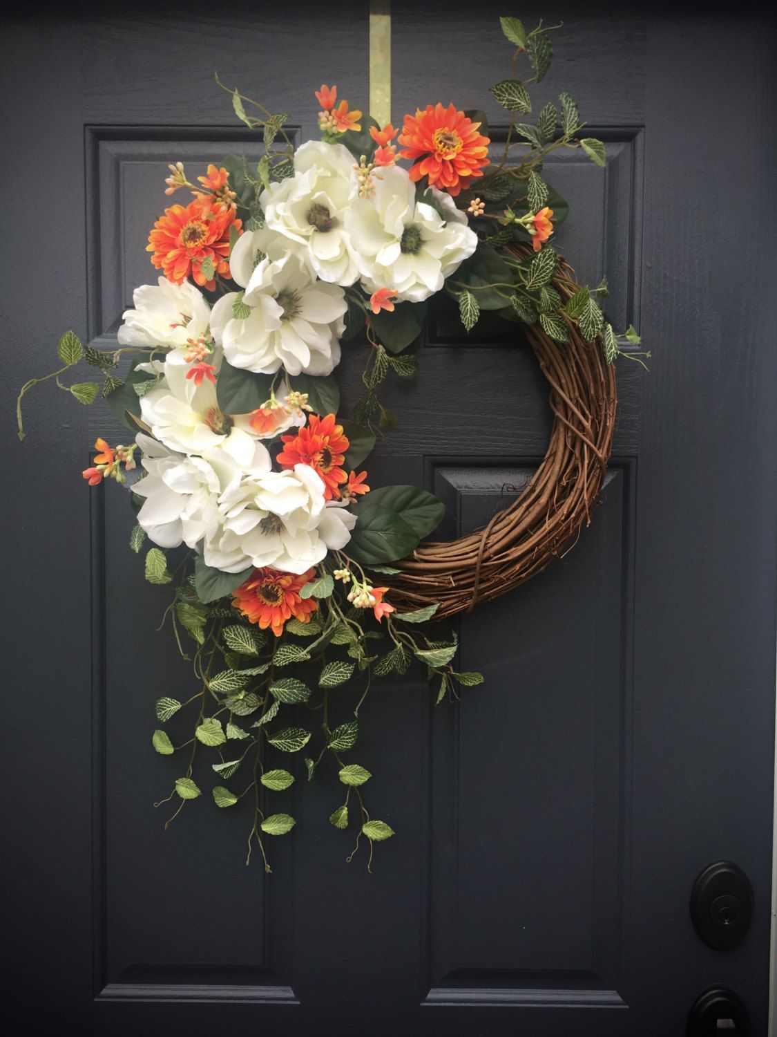 Beau Magnolia Wreath, White Door Wreaths, Spring Wreaths, Magnolias, Orange  White Wreath,