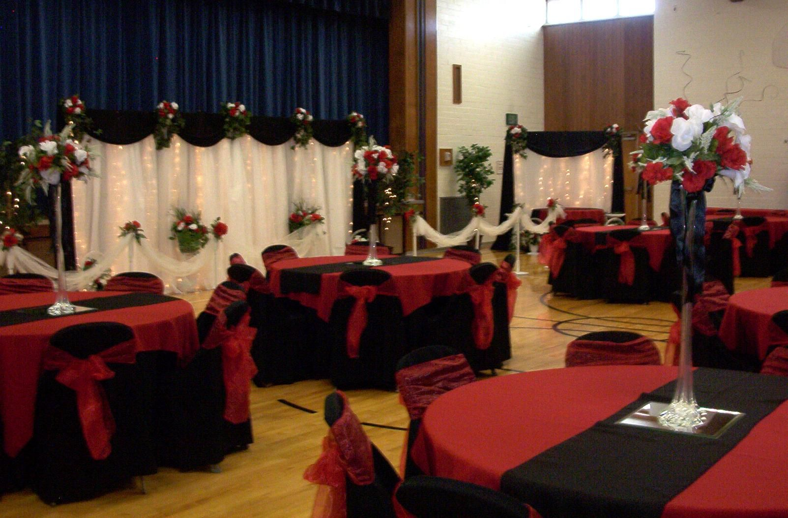 Black White Red Gold Reception Decorations October 9th 2009