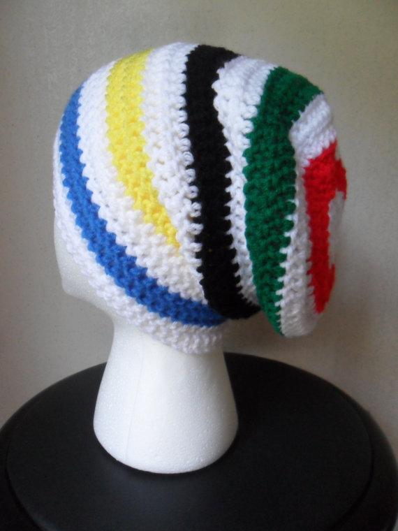 a2848b358e9 Slouchy Slacker Beanie - Blue Yellow Black Green Red - MTG Olympic ...