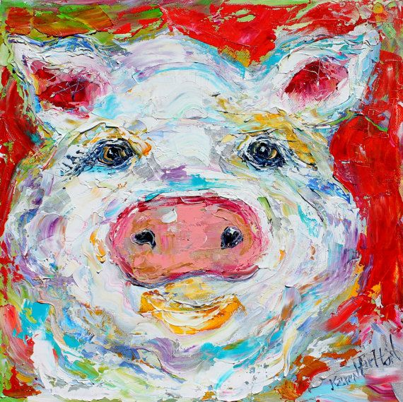 Fine Art Print Pig from image of oil painting by door Karensfineart