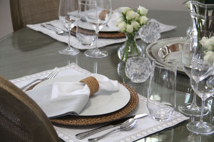 Neutral Color Scheme and elegant Tablescape.  Williams Sonoma, Riedel, CB2