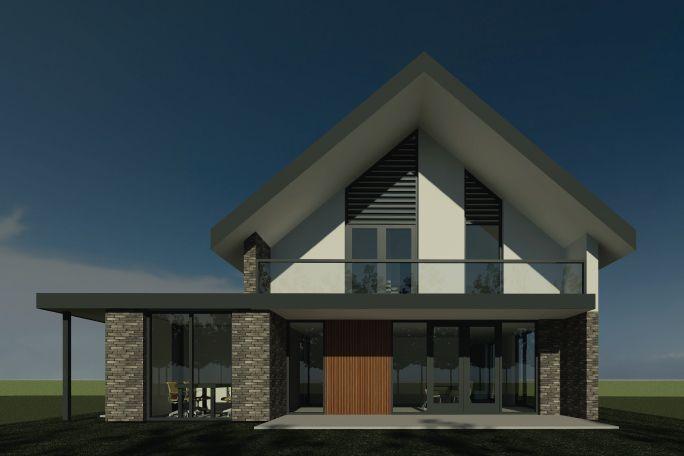 mooie kleurstellingen en raam van dak tot grond bij aanbouw slaapkamer balkon