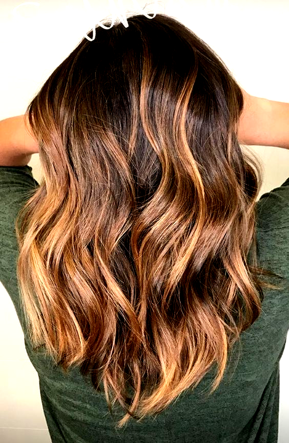 balayage sun kissed lob brunette caramel highlights summer hair - Modern