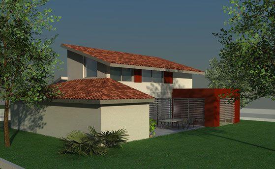 Maison Contemporaine A Toit Tuiles Et Terrasse Avec Facade Enduite Rouge Atelier Scenario Maison Traditionnelle Plan Maison Architecte Decoration Exterieur