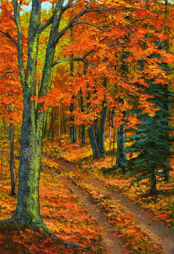 pinturas-al-oleo-paisajes-de-otoño | paths | Pinterest | Paisaje de ...