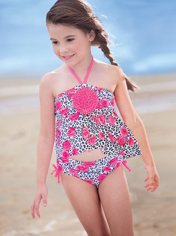 9d102b2820 From CWDkids  Floral Leopard 2-PC Swim Suit Girls Bathing Suits