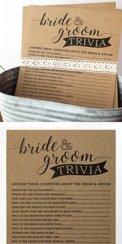 Bride and Groom Trivia Bridal Shower Game . Bridal Shower
